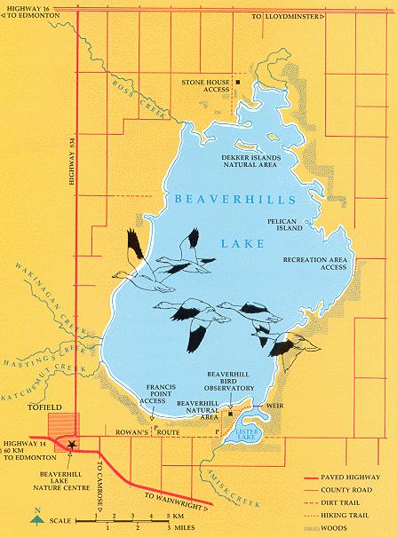 Map of Beaverhill Lake and Toefield